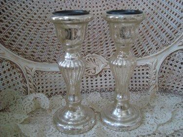 SET OF TWO SHABBY REPRODUCTION MERCURY GLASS PILLAR CANDLEHOLDERS