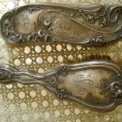 TWO SHABBY ANTIQUE HAIR BRUSHES WITH SCRIPT MONOGRAMS ROSES FLOWERS *GORGEOUS*
