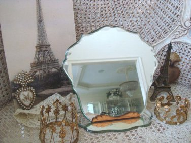 Gorgeous Antique French Beveled Fancy Cut Vanity Table Mirror with Stand