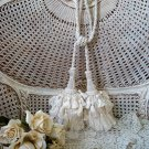 "SET OF TWO 9"" LONG IVORY TASSELS ON A CORD ***GREAT FOR CURTAIN TIE BACKS***"