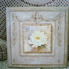 SHABBY FRENCH COUNTRY CHIC FLOWERS PEONY FLEUR DE LIS PLAQUE #1 **BEAUTIFUL**