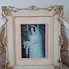 SHABBY VINTAGE LARGE ORNATE FRAME WITH BRIDE WEDDING PHOTO ***SO PRETTY***