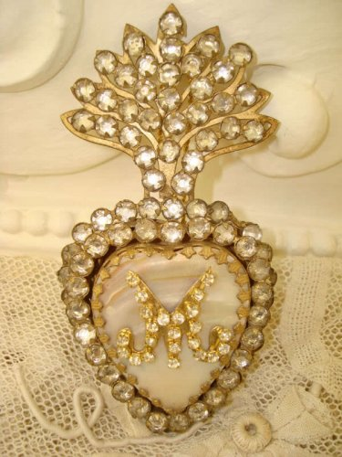 JEWELED RHINESTONES EX VOTO SACRED HEART **GORGEOUS** REPRODUCTION