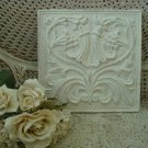 FABULOUS SHABBY FRENCH ORNATE PAINTED SQUARE WALL PLAQUE  *****CHIC*****