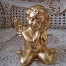 Beautiful Vintage SHABBY GOLD CHERUB ANGEL  **GORGEOUS** HOLIDAY DECORATING