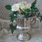 SHABBY VINTAGE SILVERPLATE URN WITH FANCY SCRIPT MONOGRAM GREAT FOR FLOWERS!!