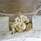 SHABBY FRENCH ORNATE CHIC SMALL PAINTED METAL TIN ROSE WITH HEARTS PLANTERS