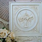 SHABBY FRENCH BASKET BOUQUET SCROLLY ORNATE WALL PLAQUE **SIMPLY CHARMING**