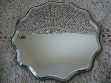 FABULOUS FANCY SHAPE BEVELED FRENCH PLATEAU MIRROR TRAY VANITY TRAY FRANCE