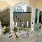 GORGEOUS SHABBY OLD FRENCH TRIPLE MIRROR VANITY TABLE MIRROR ***BEAUTIFUL***