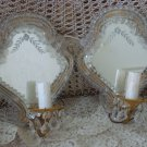 EXQUISITE VINTAGE ITALIAN VENETIAN MURANO GLASS MIRRORED SCONCES WITH PRISMS