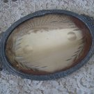 GORGEOUS SHABBY OLD FRENCH PLATEAU MIRROR VANITY TRAY WITH ETCHING DESIGN