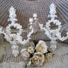 PAIR OF SHABBY FRENCH ORNATE METAL WALL CANDLE HOLDERS WITH PRISMS **GORGEOUS**