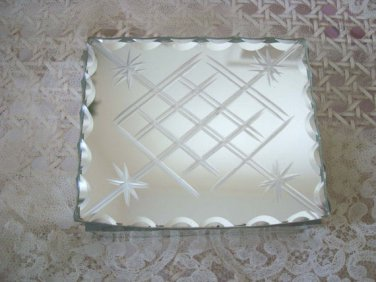 Fabulous Vintage French Mirrored Etched Jewelry Box or Trinket Box