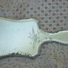 Gorgeous Old French Etched Hand Mirror With Rose and Fancy Cut Beveled Edge