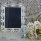 SHABBY VINTAGE FRENCH ORNATE SHELL METAL PAINTED PICTURE FRAME ***SO PRETTY***