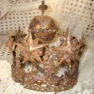 FRENCH RHINESTONES ORNATE SANTOS MADONNA CROWN SHABBY REPRODUCTION