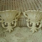TWO SHABBY ORNATE FRENCH STYLE PAINTED METAL WALL POCKETS  ****SO PRETTY****