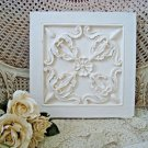 SPECTACULAR SHABBY FRENCH ORNATE FLOWER PAINTED SQUARE WALL PLAQUE  ***CHIC***