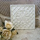 SHABBY FRENCH ORNATE PAINTED FLOWER LATTICE DESIGN PLAQUE ***SO PRETTY***