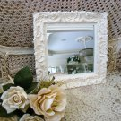 BEAUTIFUL SHABBY SHELL FRENCH ORNATE PAINTED SQUARE MIRROR ***SO CHIC***