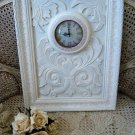 SHABBY FRENCH ORNATE PAINTED FLEUR DE LIS  LARGE WALL CLOCK ***SO PRETTY***