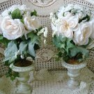 PAIR OF BEAUTIFUL SHABBY TOPIARY PLANTS IN URNS ****BEAUTIFUL*****