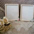 SET OF TWO VINTAGE FRENCH CHIC PORCELAIN ROSES PICTURE FRAMES ***SO PRETTY***