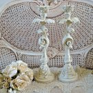 SHABBY FRENCH STYLE PAINTED LARGE CANDLE HOLDERS  ***EXQUISITE***