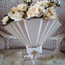 AWESOME SHABBY PAINTED METAL VICTORIAN STYLE FAN PLANTER WITH BOW **ELEGANT**