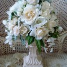 BEAUTIFUL FAUX FLOWER ARRANGEMENT IN RESIN VASE ***ELEGANT & UNIQUE****