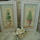 SHABBY PAIR OF FRAMED FRENCH COUNTRY TOPIARY WALL PICTURES ****WHIMSICAL****