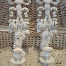 Shabby Pair of Painted Metal Wall Candleholders With Bows & Roses ***AWESOME***