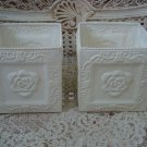 SET OF 2 SHABBY FRENCH CHIC SMALL PAINTED METAL TIN ROSE PLANTERS **SO PRETTY***