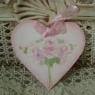 HEART HAND PAINTED ROSE BOUQUET SHABBY ROSES WOODEN ORNAMENT *SO PRETTY*