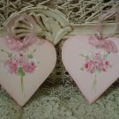TWO ROSES BOUQUET HEART HAND PAINTED SHABBY ROSES WOODEN ORNAMENTS *SO PRETTY*