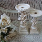 TWO SHABBY FRENCH STYLE PAINTED CANDLE HOLDERS  **SO PRETTY***