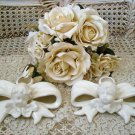 BEAUTIFUL CHERUB ANGEL BOW CERAMIC TAPER CANDLE HOLDERS**SO PRETTY**