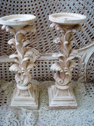 TWO LARGE SHABBY FRENCH STYLE PAINTED CANDLE HOLDERS  ***UNIQUE***
