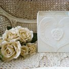 LARGE SQUARE SHABBY FRENCH CHIC PAINTED METAL TIN ROSE PLANTER ***SO PRETTY***