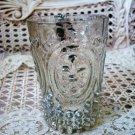 ONE SHABBY REPRODUCTION MERCURY GLASS FLEUR DE LIS VOTIVE HOLDER