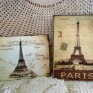 SET OF 2 FRENCH EIFFEL TOWER METAL VINTAGE STYLE POSTCARD WALL HANGINGS **CHIC**