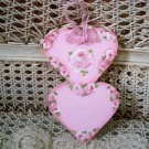 CHARMING HAND PAINTED SHABBY ROSES DOUBLE HEART WOODEN ORNAMENT *SO PRETTY*