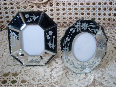 BEAUTIFUL ESTATE SET OF 2 MINI MIRRORED PICTURE FRAMES ***ELEGANT***