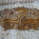 BEAUTIFUL ORNATE VICTORIAN GOLD CASKET BOX JEWELRY BOX WITH ROSES *AS IS*