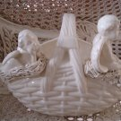 Beautiful Vintage Ceramic Large Basket WITH TWO CHERUBS **UNIQUE**
