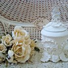 SHABBY FRENCH ORNATE SHELL CHIC PAINTED TRINKET BOX ***EXQUISITE***