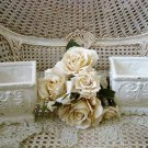 SHABBY FRENCH STYLE PAINTED CERAMIC PLANTER SET OF TWO ***SO PRETTY***