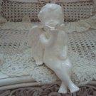 Vintage Ceramic Shelf Sitting Cherub Angel Figurine With Butterfly