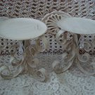 PAIR OF CURLY ORNATE PILLAR CANDLEHOLDERS WITH PRISMS **AWESOME**